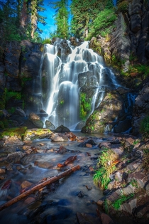 A lush waterfall in Lassen Volcanic NP California
