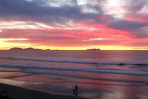 A man and his dog admire the sun setting behind Islas Coronado Sur OC - Tijuana -