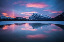 A March sunrise at the second Vermilion Lake in Banff National Park The sky lit up beautifully above Mount Rundle and the sulfurous shoreline of the lake provided a mirror of the scene  Photo by Callum Snape