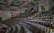 A massive burned out school auditorium