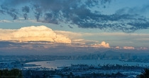 A massive cumulonimbus cloud over San Diego CA skyline last week