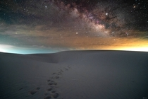 A midnight stroll in the dark up the dunes at White Sands National Monument NM