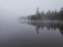 A mist shrouded lake in the Adirondacks