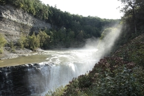 A misty waterfall in Letchworth State Park - New York USA