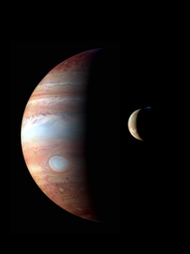A montage of New Horizons images of Jupiter and its volcanic moon Io taken during the spacecrafts Jupiter flyby in early  The image shows a major eruption in progress on Ios night side at the northern volcano Tvashtar