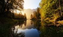 A moody morning at the lake  Eibsee Bavaria Germany