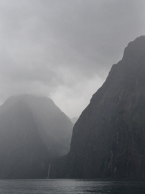 A moody view of Stirling Falls Milford Sound NZ