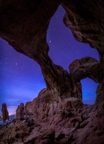 A Moonlit Starry Night in Arches National Park