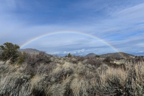 A morning rainbow over Lava Beds National Monument Three mornings in a row a rainbow popped out in the same place  Photo by Jason George