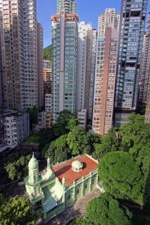 A mosque surrounded by tower blocks in Hong Kong