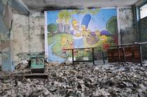A mural portraying the Simpsons and that everything is fine Chernobyl Ukraine