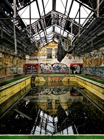 A murky swimming pool inside an abandoned school in Leeds England