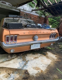 A Mustang left behind at an abandoned mansion in Alabama
