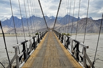 A narrow wooden bridge on the River Shyok Northern Pakistan  By Ishtiaq Ahmed  x-post rExplorePakistan