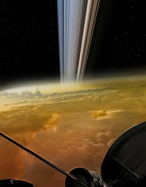 A Nasa recreation of the view from Cassini falling into Saturn