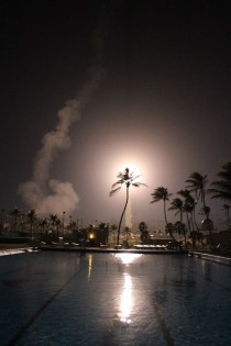 A NASA Terrier-Improved Orion sounding rocket leaves the launch pad at Roi Namur the Republic of the Marshall Islands as part of the Equatorial Vortex Experiment EVEX