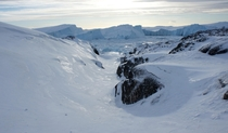 A natural slide down to the Icefjord - Ilulissat Greenland