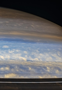 A near-infrared false color view of Saturns northern hemispheric clouds as seen by Cassini in June