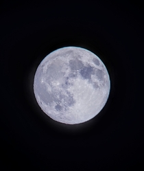 A nearly full moon taken  days into my astrophotography hobby