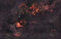 A new edit of Al Sadr Region within Cygnus taken from Al Sadeem Observatory in Abu Dhabi UAE Total integration of about  hour using astro modified canon with a mm lens Processed and edited in Pixinsight
