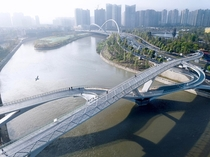 A new pedestrian bridge has opened in Chengdu of China
