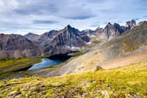 A nice view of Grizzly Lake in Yukon Territory Canada from a trail called Glissade Pass