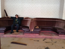 A pair of seats my buddy and I found in an abandoned restaurant