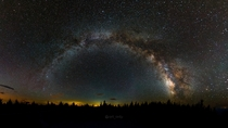 A panorama of the Milky Way from a mountain in West Virginia
