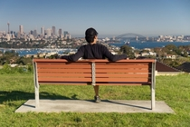 A park bench overlooking Sydney Australia