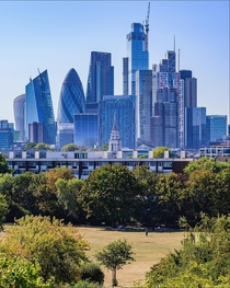 A park in London overlooking the skyline