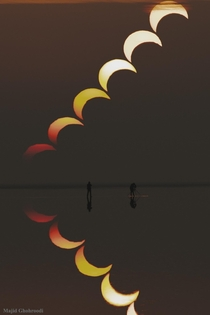 A Partial Solar Eclipse Sequence Reflected