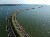 A partial view of the km long Houtribdijk dam in the Netherlands Again leave it to the Dutch