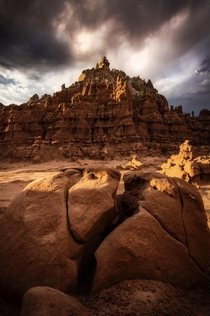 A passing storm hitting Goblin Valley UT