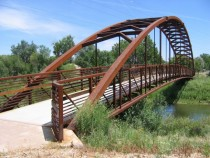 A pedestrian bridge in Denver CO