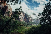 A peek at Cloudy Mountops in Zion National Park
