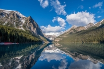 A perfect reflection at Lake Louise in Banff National Park