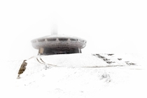 A photo I took in December  of the Buzludzha Memorial House in Bulgaria during a blizzard