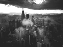 A Photo of Kuala Lumpurs Petrona Towers as Taken from KL Tower