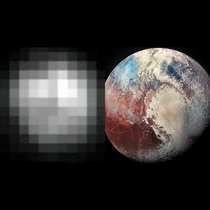 A photo of Pluto  years apart -