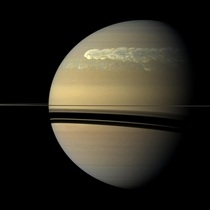 a photo of saturn taken by cassini probe