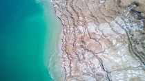 A photo of the dead sea shrinking years after year  X  px