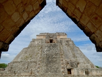 A photo of the Pyramid of the Magician at the Uxmal ruins in Yucatn Mexico from travels a few years ago