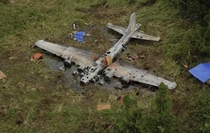 A picture of a be Flying Fortress that crashed in Papua New Guinea back in