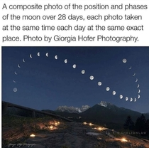 A picture of the moon taken at the same time over  days