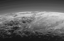 A Plutonian Landscape It was captured from a range of about  kilometers when New Horizons looked back toward Pluto  minutes after the spacecrafts closest approach on July