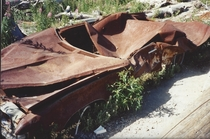 A  Pontiac Grand Prix pummeled and thrown by the lateral blast in  on Mt St Helens The owners parked it and walked about a mile to a cabin near Black Rock Mine and did not survive the blast