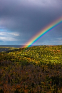 A pot of gold leaves under the rainbow over Lutsen Minnesota