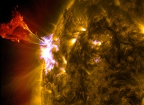 A prominence eruption captured on  May  Combines three images from NASAs Solar Dynamics Observatory Goddard