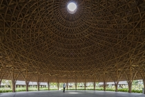 A pure bamboo structure one of the large domes of Diamond Island Community Center Ho Chi Minh City Vietnam