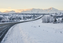 A Quiet Winter Road along Richardson Highway Interior Alaska